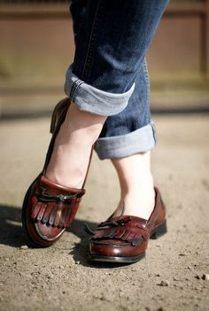 loafers, cuffed jeans. Yes. This look will do well for me.