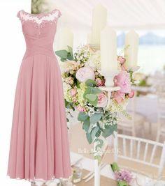 BEAU Dusky Blush Pink Long Bridesmaid Prom Wedding Dress UK – Belle Boutique UK