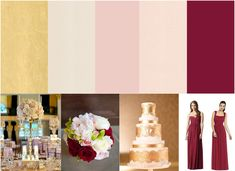 Blush, gold, and bordeaux wedding palette