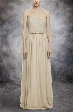 Sweetheart Strapless Long Chiffon Bridesmaid Dress