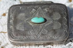 Vintage Navajo Hand Wrought Sterling Silver Turquoise Stamp Decorated Pillbox | eBay $295.00