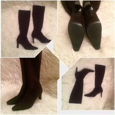 "Nine West Knee High Boots Excellent condition. Gently worn. Look looks very new. Light weight and very comfy.  Size 6M . I'm 6.5 true to size, these fits on me just fine with thin socks. Great for work and for dresses. Heels are 3.5"" high. Color is dark brown not black Nine West Shoes Heeled Boots"
