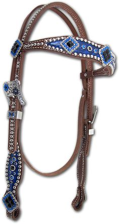 Beautiful Blue Headstall with lots of crystals. Horse Bridle, Horse Halters, Western Horse Tack, Cowgirl And Horse, Horse Gear, Cowgirl Bling, Horse Saddles, My Horse, Hobby Horse
