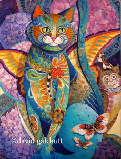 "David Galchutt ""the bon vivant"" Original Fine Art Oil Painting x Psychedelic Art, Frida Art, Rug Hooking Patterns, Cat Colors, Cat Art, Fantasy Art, Illustration Art, Etsy, Artwork"