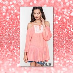 COMING IN 2-3 DAYS AVAIL NOW FOR PURCHASE New Peach Off Shoulder Boho Bell Sleeve Lace Tunic Made in USA Size: 2/Small, 2/Medium, 2/Large PLEASE DO NOT PURCHASE THIS LISTING PLEASE COMMENT BELOW AND I WILL CREATE A SEPARATE LISTING JUST FOR YOUR PURCHASE Glam Squad 2 You Tops Tunics