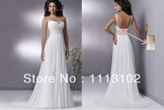 Straps Low Cut Back Beach Chiffon Boho Wedding Dress
