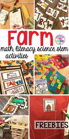 Farm themed math literacy science blocks & stem activities that preschool pre-k and kindergarten students will LOVE (with FREEBIES)! Farm Activities, Kindergarten Activities, Math Literacy, Literacy Centers, Science Activities, Preschool Centers, Stem Preschool, Science Projects, Preschool Crafts