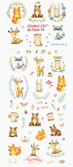Woodland Friends. Watercolor bundle by StarJam on @creativemarket