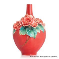 FZ02812 Franz Porcelain Fortune Rieger Begonia large vase red Spcl Ordr Amazing