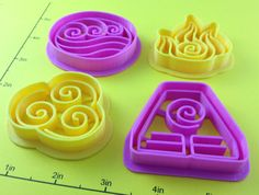 Avatar the Last Airbender Symbol Cookie Cutters! This shop also has cookie cutters and accessories for Harry Potter, Nintendo, Dr Who, My Little Pony, and more!