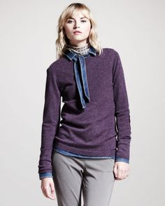 Cashmere Crewneck Elbow-Patch Sweater by Brunello Cucinelli at Neiman Marcus.