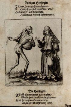 G11 - La Duchesse. Danse macabre du couvent des dominicains de Bâle (Suisse) (v. 1440). Gravure de Matthaeus Merian (1621).