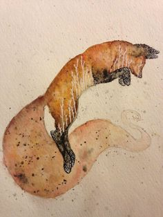 Red Fox, Hannah Schriner, 2014, watercolor