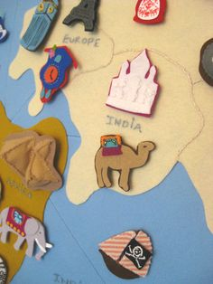 Fantastic, huge, wall globe made from felt. The tiny pieces are amazing!