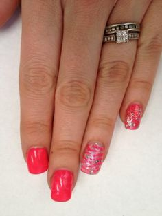 Pink gel nails with zebra accent by The Henhouse in Cochrane Alberta Canada 403-932-4640