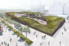 photo le groupe scolaire aimé-césaire sera entièrement recouvert de toits végétaux. © infographie samoa