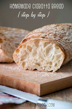 Homemade Ciabatta Bread {Step by Step} – Italian Recipe Book Homemade Ciabatta Bread Recipe. Wonderfully chewy on the inside, crusty and golden brown on the outside and irresistible big holes! Step By Step Recipe + VIDEO Italian Recipe Book, Italian Bread Recipes, Artisan Bread Recipes, Italian Sandwich Bread Recipe, Homemade Ciabatta Bread, Homemade Breads, Crusty Chewy Bread Recipe, Levain Bread Recipe, Ciabatta Roll