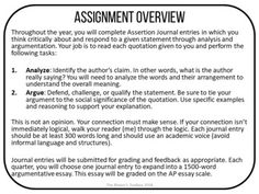 Assertion Journal ULTIMATE Bundle: Rhetorical Analysis and Argumentation Journal Entries, Journal Prompts, Ap Language And Composition, Ap Literature, Teaching Methods, Depression Treatment, Close Reading, Writing Workshop, Teaching Writing