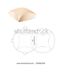 Pillow Box with Blueprint Template - stock vector