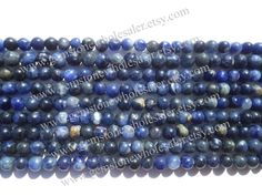 Sodalite Smooth Round (Quality C) / (A pack of 7 strands) / 5.5 to 6.5 mm / 13 to 15 Grms / 36 cm / SOD-008 by GemstoneWholesaler on Etsy