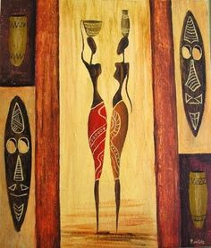 / Black Art Painting, Black Artwork, Arte Tribal, Tribal Art, Afrique Art, African Art Paintings, Silhouette Art, Traditional Paintings, Female Art