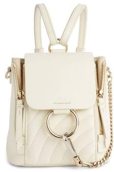 d49bab7825e4 Chloe Faye Quilted Leather Backpack White Backpack
