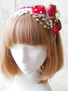 Being the most beautiful Lolita princess, Lolitashow Sweet Lolita Headband KC Infanta Strawberry Lolita Hair Accessories couples with sweet styles and comfortable materials at affordable prices. Kawaii Accessories, Girls Hair Accessories, Kawaii Fashion, Lolita Fashion, Strawberry Hair, Strawberry Ideas, Lolita Hair, Manga Hair, Silver Jewellery Online
