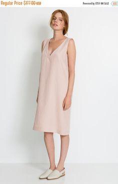 sale 50% Light pink summer midi dress  V neck midi by KAVdesigner [class:splurge]