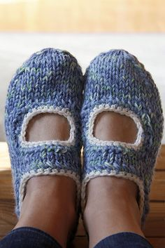Mary Jane slippers  knit AK's slippers pattern