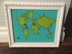 Saw the Prince & Me? This board is an old picture frame filled with painted cork- red pins for places I've been, green for places I want to go- a travel dream board of sorts Old Picture Frames, My Prince, Places Ive Been, Cork, Hands, Crafty, Quilts, Green, Pictures