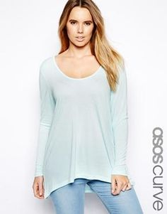 ASOS CURVE Exclusive Swing Top.  Love the pretty pastel turquoise color!