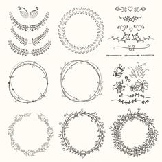 Leaves wreath collection Premium Vector