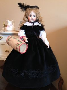 Cecile wearing a gown made for Old B Dolls kit. It is a replica of a Blondentte dress.
