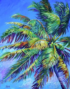 Palm Canvas Print featuring the painting Brilliant Palm by John Clark Palm Tree Drawing, Palm Tree Art, Palm Tree Paintings, Tropical Paintings, Drawing Flowers, Tree Artwork, Painting Edges, Diy Painting, Art Tropical