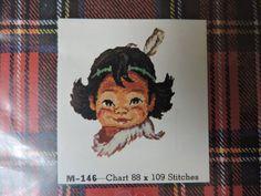 Little Sioux Jean McIntosh Native Boy Child Petit Point Needlepoint KIT Vintage Kit No. M - 146 Aboriginal Child Made in Canada Aboriginal Children, Cabbage Patch Kids Dolls, Wool Thread, Sewing Patterns For Kids, Needlepoint Kits, Child Doll, Sioux, Cross Stitch Designs, Vintage Sewing