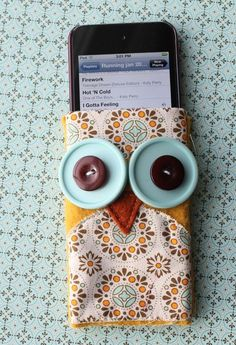 Stampin' Up!  Spice Cake Fabric  Heather Summers  Owl iPod Cover @Chrissy Lou - you can make this!