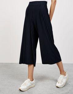 Jupe-culotte fluide pinces - Pantalons - Bershka France