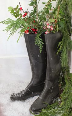 ✿   etsy bluefolkhome says ✿  How charming!  Boots on your snowy white porch with sprigs of greenery and pine to welcome your guests!