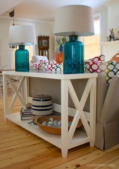 Custom Sofa Table with inset Blue Agate top CynthiaWeber.com