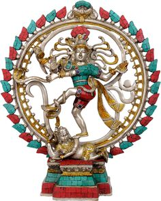17 Inch Tall Brass Nataraja with Turquoise and Coral Inlay Dancing Sketch, Photos Of Lord Shiva, Lord Shiva Sketch, Hindu Statues, Shiva Lord Wallpapers, Shiva Statue, Indian Classical Dance, Nataraja, Brass Statues