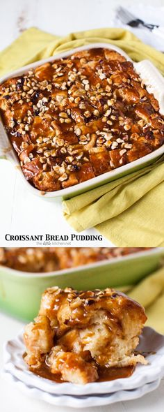Croissant Bread Pudding with Espresso Butterscotch Sauce from thelittlekitchen.net