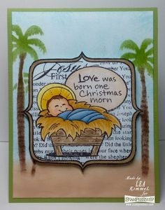 (th)INK Positive: Merry Christmas! Love this sweet Christmas stamp from Stampendous along with the Tall Palmtree Stencil! First Christmas, Christmas Crafts, Merry Christmas, Cool Stencils, Baby Jesus, First Love, Stamp, Neon, Ink