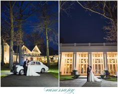 Classic cars and love on a winter night. View more of Jillian and Joe's beautiful Ryland Inn wedding on my blog!