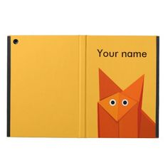 Customizable cute personalized iPad Air case with a geometric illustration of a funny and cute origami #fox looking at you wondering why you are looking at it, on yellow background. $42.95 #ipad #ipadair #personalized #ipadcase