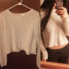 Light cropped knitted sweater Gently worn. Looks brand new. Depending on how you wear it on your shoulders it doesn't reveal that much tummy. Very warm and comfy! Aeropostale Sweaters