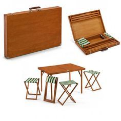 Picnic Table: Eat and Go ::: Who doesn't enjoy a picnic on a summer day. Now it's easier than ever with this stow away briefcase. Inside of this wood and metal rimmed briefcase is a folding table-and-stool set. Folding Furniture, Smart Furniture, Metal Furniture, Table Furniture, Furniture Makeover, Furniture Design, Furniture Ideas, Farmhouse Furniture, Repurposed Furniture