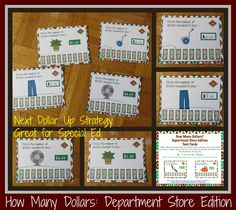 Great for special education math skills or for students working on rounding.  This set includes 64 task cards for using the next dollar up strategy. In the next dollar up strategy, the student chooses the next dollar up from the price tag so that even without being able to make change, he can make a purchase and know how much he can afford. $3