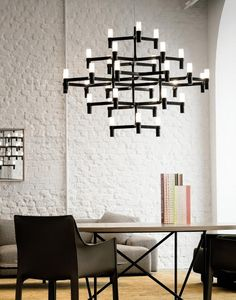 Crown by JEHS + LAUB for NEMO is a collection of chandeliers and wall lights with a modular structure for feature lighting applications. Crown Major Chandelier is made with die-casted aluminium with sandblasted glass diffusers. Modular Structure, Sandblasted Glass, Piece A Vivre, Chandelier Pendant Lights, Chandeliers, Glass Diffuser, Hospitality Design, Interior Design Inspiration, Design Ideas