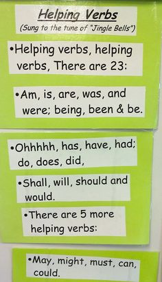 "Helping Verbs...Sing to tune of ""Jingle Bells""  THIS strategy works with students!!"