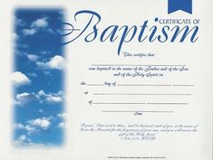 baptism certificates with clouds package of 6